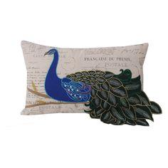 Thro by Marlo Lorenz Rectangle Postcard Print Peacock Pillow - TH010553001E