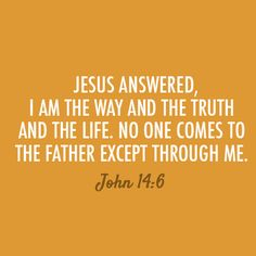 """John 14:6 """"Jesus answered, """"I am the way and the truth and the life. No one comes to the Father except through me."""""""