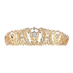 """Ready to make a statement at prom or pageant? You'll be queen for the day in this chic gold retro tiara. Measuring 7"""" w x 1 1/2"""" h and studded with sparkling crystals, it would also make a beautiful splash for any bride at a black tie wedding."""