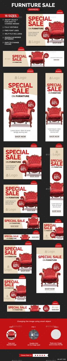 Furniture Sale Banners - Banners & Ads Web Template PSD. Download here: http://graphicriver.net/item/furniture-sale-banners/10869369?s_rank=1763&ref=yinkira