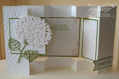handmade card from scraphexe.de ... fancy fold display card ... white with soft pink and green ... delightful!