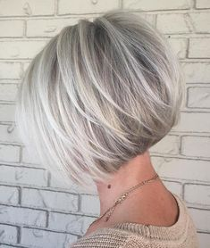 Angled Silver Balayage Bob With Swoopy Layers Bob Haircut For Fine Hair, Bob Hairstyles For Fine Hair, Haircuts For Fine Hair, Bobs For Thin Hair, Short Hair With Layers, Short Hair Cuts For Women, Grey Hair Inspiration, Stacked Haircuts, Blonde Honey