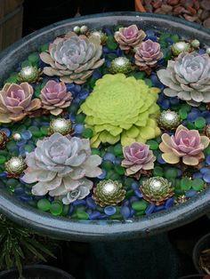 Succulents - add rocks that look like sea glass