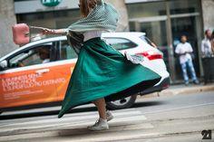 Chuck taylors and a midi skirt. Walk This Way, Lookbook, Green Dress, Chuck Taylors, Milan, Midi Skirt, High Waisted Skirt, Vogue, Style Inspiration