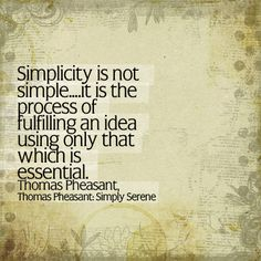 Simplicity is not simple...