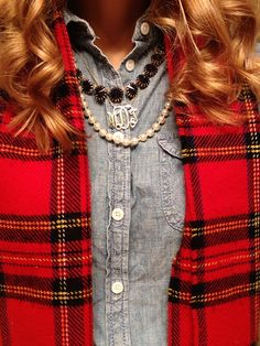 J'Adore J. Crew: Red plaid scarf, chambray