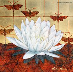 Lotus Flower Art  Moth Art  Fine Art Print  by ArtWithIntention, $39.95