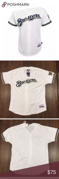 Majestic MILWAUKEE BREWERS Jersey 56 Authentic Majestic SIZE 56 3XL MILWAUKEE BREWERS WHITE COOL BASE Jersey    Brand : Majestic  Color : White  Size : 56  Team : Milwaukee Brewers  Condition : Brand New with Tags  Letters are seen into the jersey  MLB Officially Licensed  Front authentic decoration  MLB Authentic Collection woven locker tag  Sleeve patches (where applicable) and embroidery  Center back neck MLB silhouetted batter patch  100% polyester Majestic Other