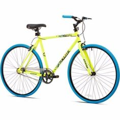 700c Kent Thruster Men's Fixie Bike, Yellow/Blue #Kent