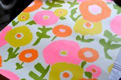 Vintage Wall Paper Mod Pink and Orange Flowers by pumpkintruck