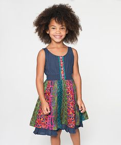 Look at this #zulilyfind! Navy & Green Damask Dress - Toddler & Girls #zulilyfinds