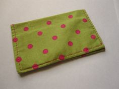 Lime Green and Hot Pink Polka Dot Card Wallet