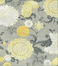 Keepsake Calico Cotton Fabric-Floral Yellow Gray