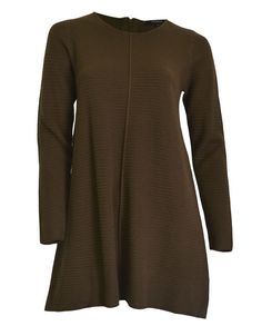 Luxe new knits for easy Winter style - Zip Tunic Khaki by Ping Pong