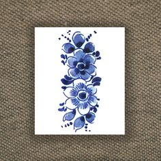 Floral vintage Dutch 'Delfts Blauw' temporary tattoo by Tattoorary, $6.00