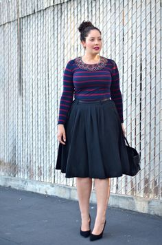 91065062e6c Negra y rayas Plus Size Outfits