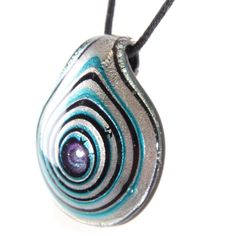 Glass Drop Pendant - Spiralled Silver, Blue & Black - Homecorner Store