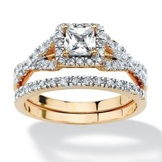 2 Piece .97 TCW Princess-Cut Cubic Zirconia Bridal Ring Set in 18k Gold over Sterling Silver on PalmBeach Jewelry