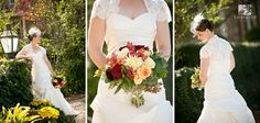I loved Meredith's fall bouquet, birdcage veil, and bolero!