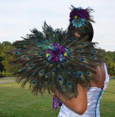 Peacock Feather Wedding Parasol, Custom Wedding Dress, Couture Wedding Dress, Textured Wedding Gown