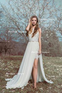 Espalda abierta Vestido de novia bohemio por MariStyleCouture