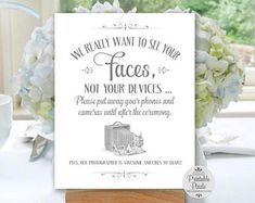 Grey Printable Unplugged Wedding Sign, We Want To See Your Faces, Unplugged Ceremony (#UN15A)