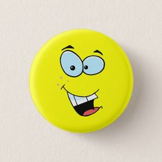 Shop Laughing Face Pinback Button created by Personalize it with photos & text or purchase as is! Laughing Smiley Face, Cute Paintings, Rock Painting Ideas Easy, Duck Face, Beach Rocks, Pet Rocks, Rock Crafts, Online Gifts, Pebble Art