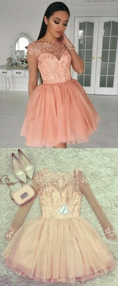 Cute long sleeves homecoming party dresses beaded, simple short pink prom dresses, semi formal dresses with appliques. Grad Dresses Long, Semi Formal Dresses, Pink Prom Dresses, Cheap Prom Dresses, Trendy Dresses, Simple Dresses, Homecoming Dresses, Cute Dresses, Formal Prom