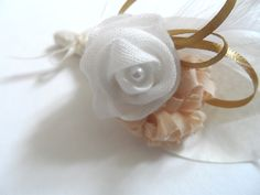 White & Gold #Handmade #Fabric #Wedding button hole design by jenniferbarlow.co.uk