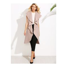 SheIn(sheinside) Pink Oversized Waterfall Sleeveless Coat ($25) ❤ liked on Polyvore featuring outerwear, coats, pink, leather-sleeve coats, sleeveless coat, oversized coat, white oversized coat and waterfall coat