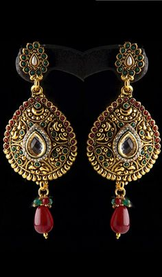 #WeddingEarrings - Multicolored Stone Studded Earrings With A Bead Drop Costs Rs. 699. #Jewellery. BUY it here: http://www.artisangilt.com/multicolored-stone-studded-earrings-with-a-bead-drop.html?ref=pin