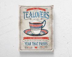 """Retro kitchen art / tea print, modern kitchen art, retro tea print, tea art  / """"Tea Lovers"""" /"""