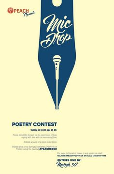 Mic Drop Poster made for a poetry contest my work is throwing. Poetry Contests, Writing Contests, Creative Poster Design, Creative Posters, Simple Poster Design, Ads Creative, Poster Designs, Layout Design, Logo Design