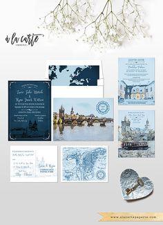 Prague Czech Republic Eastern Europe Destination wedding invitation Set…