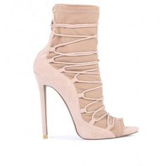 Christine Lace Up Detail Stilettos in Nude Faux Suede