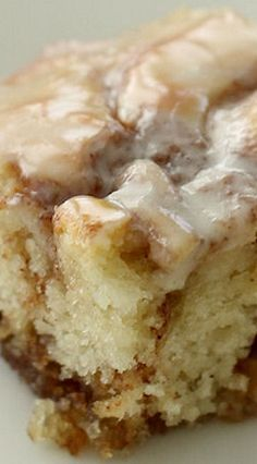 Cinnamon Roll Cake melts in your mouth and tastes just like regular Cinnamon Rolls!