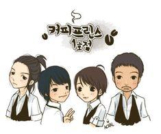 The 1st Shop of Coffee Prince ♥ Yoon Eun-hye as Go Eun-chan ♥ Gong Yoo as Choi Han-gyul ♥ Lee Sun-gyun as Choi Han-seong ♥ Chae Jung-an as Han Yoo-joo ♥ Lee Eon as Hwang Min-yeop ♥ Kim Dong-wook as Jin Ha-rim ♥ Kim Jae-wook as No Sun-ki (waffle chef at Coffee Prince)