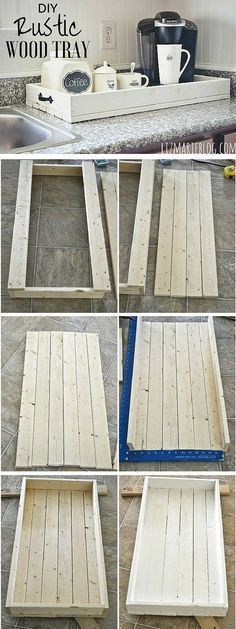 How To Make A Simple Yet Rustic Wood Tray This DIY rustic wood tray is perfect for a dish dry rack or as a gift for anyone heck even a wooden planter pot! Best of all this wooden tray would look awesome as a serving tray. Woodworking Projects Diy, Diy Wood Projects, Home Projects, Woodworking Plans, Woodworking Furniture, Reclaimed Wood Projects Signs, Woodworking Shop, Sketchup Woodworking, Workbench Plans