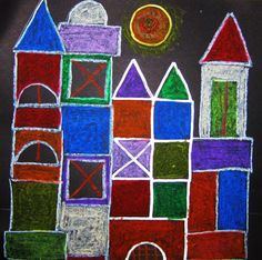 Klee castle inspired, metallic pen outlines and oil pastel