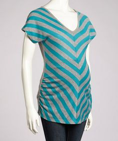 Love this Heather Gray & Jade Chevron Short-Sleeve Maternity Top by Anticipation on #zulily! #zulilyfinds