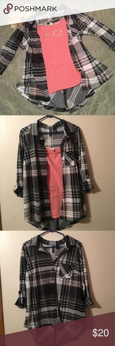 NWT Button down top 1x Button down top with a slit in the back/ 3/4 length sleeves/ back is longer/ black, white, grey and pink Tops Button Down Shirts
