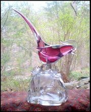 Archimede Seguso Cranberry Pheasant Liquor Decanter, from Yesterdays on Ruby Lane.