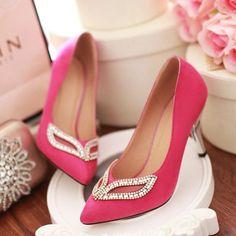 pas cher fushia chaussures talons hauts bout pointu chaussures simples chaussures femmes bouche peu profonde - Chaussure Fushia Mariage
