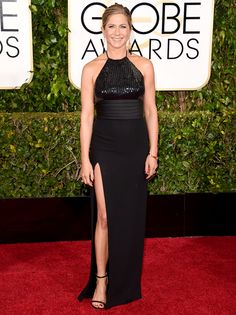 Jennifer Aniston strayed from wearing her long hair down and put it up in a chic bun hairstyle for the 2015 Golden Globes on Sunday, Jan. 11; see her hairstyle