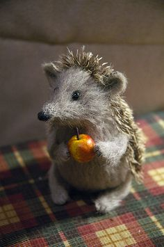 hedgehog holding apple by Natasha Fadeeva, via Flickr