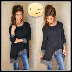 """kimono oversized tunic COLOR BLOCK ROUND NECK TUNIC LENGTH: 27"""" WIDTH: 54"""" MATERIALS: 95% RAYON, 5% SPANDEX MADE IN USA. PRICE FIRM UNLESS BUNDLE❗️ Tops Tunics"""