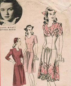 1940s Hollywood 1273 Vintage Sewing Pattern Jane Wyatt Misses' One-Piece Dress and Cap Size 16 Bust 34 (estimated). $18.00, via Etsy.