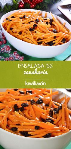 Esta #ensalada de #zanahoria rallada con pasas y #aderezo dulce, es súper rica y perfecta para cualquier hora del día, además complementa muy bien a los platos fuertes. ¡Pruébala!