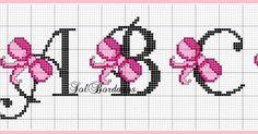 Ângela Bordados: Boa tarde,vamos bordar.... Cross Stitch Alphabet Patterns, Cross Stitch Letters, Cross Stitch For Kids, Simple Cross Stitch, Cross Stitch Flowers, Cross Stitch Designs, Stitch Patterns, Cross Stitching, Cross Stitch Embroidery