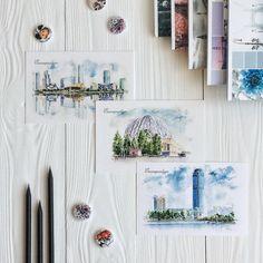 Идея для фото в инстаграм. Flatlay открытки, раскладка, вдохновение, рисунок #flatlay #instagram #rbloknot #вдохновение